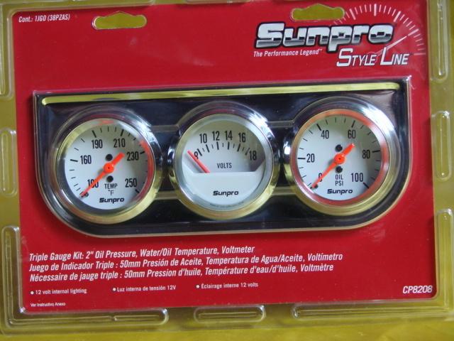 Temperatur Volt Öldruck Anzeige Chrom 50mm